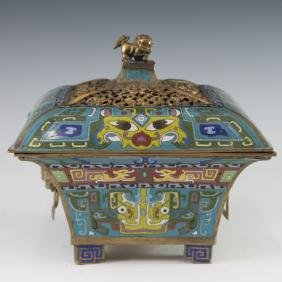 Antique Chinese Cloisonne Fangding Censer
