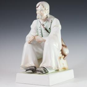 Zsolnay Woodcarver Porcelain Figurine