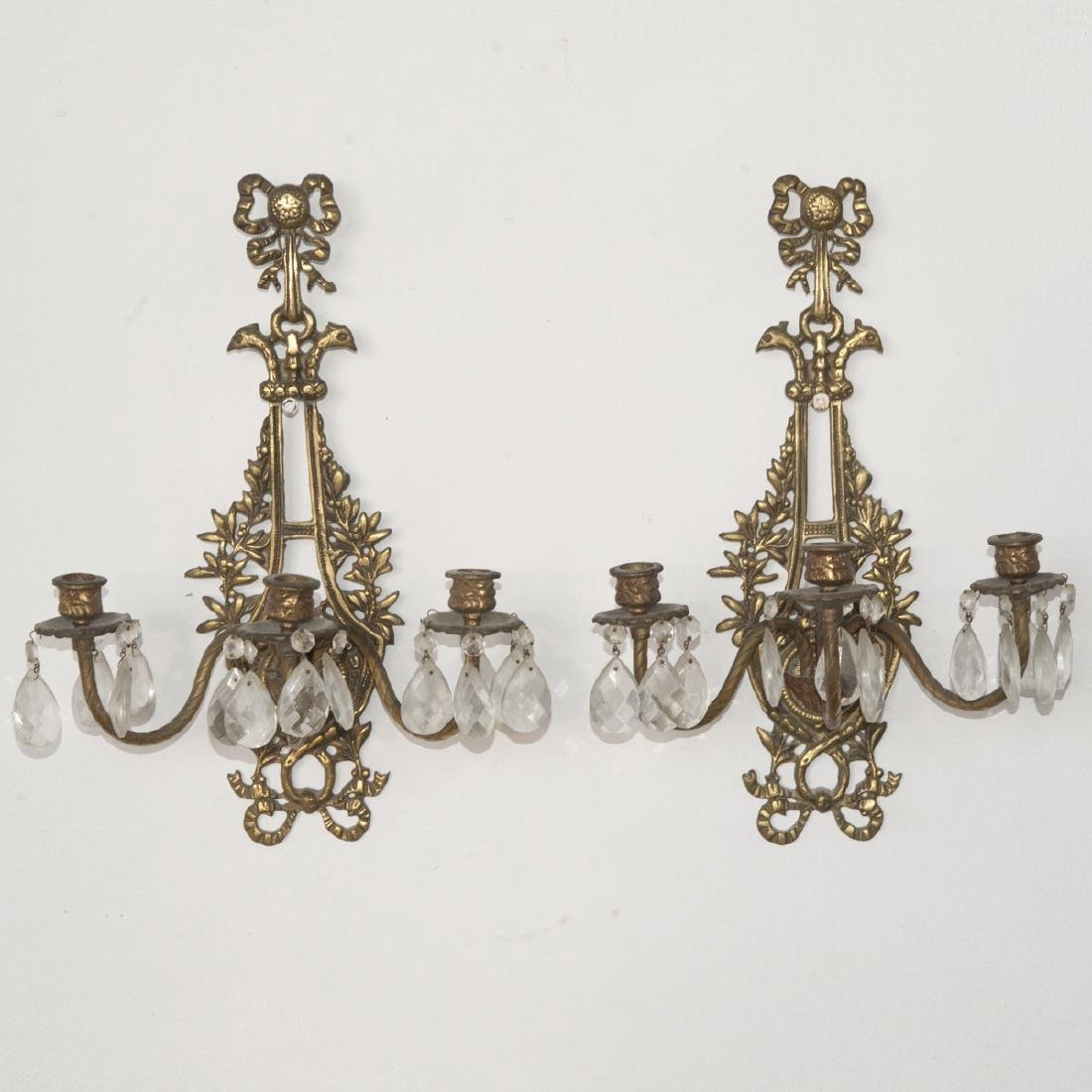 Dore Bronze & Crystal Sconces