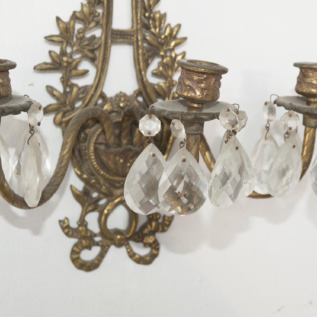 Dore Bronze & Crystal Sconces - 2
