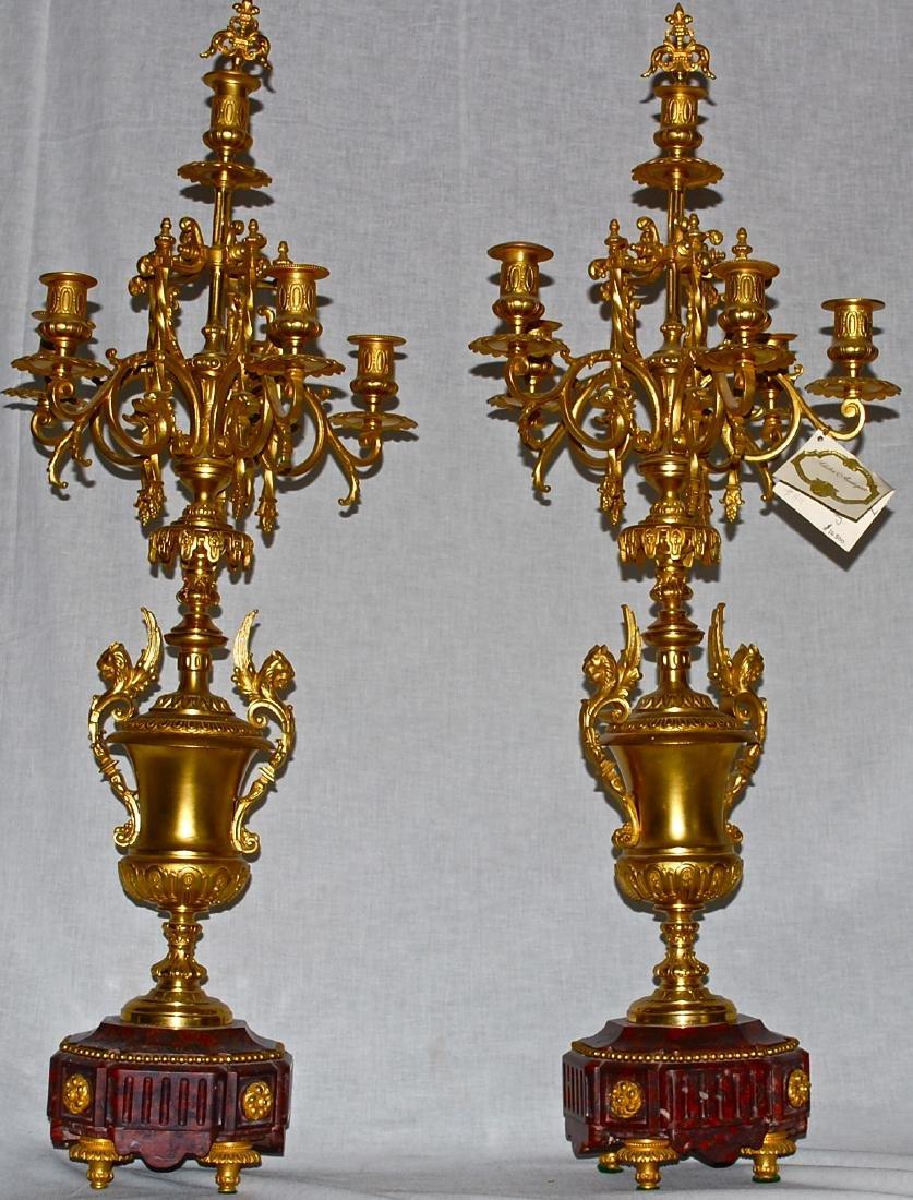 Antique Dore Bronze & Griotte Candelabras