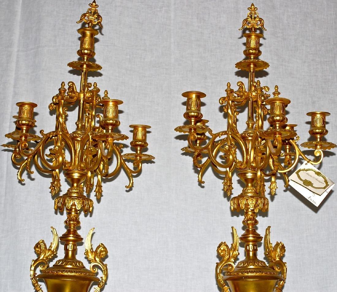 Antique Dore Bronze & Griotte Candelabras - 2