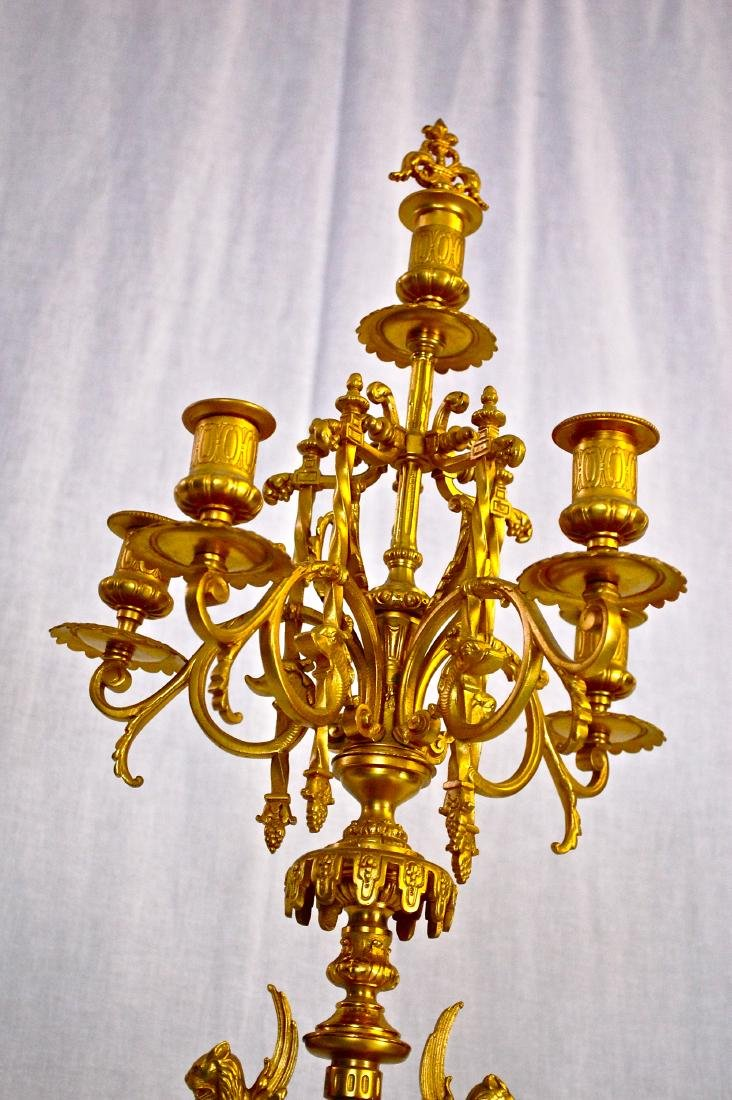 Antique Dore Bronze & Griotte Candelabras - 7