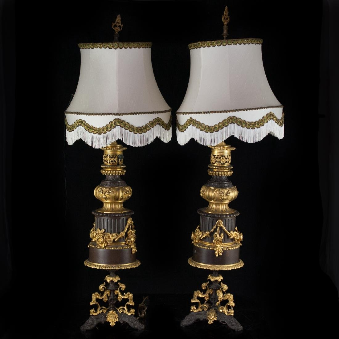 Two Tone French Bronze Lamps