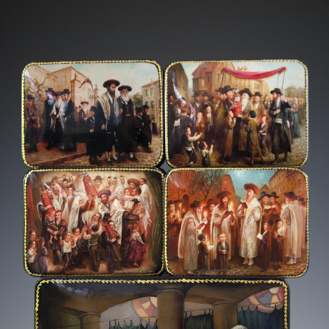 Russian Lacquered Papier Mache Judaic Boxes - 2