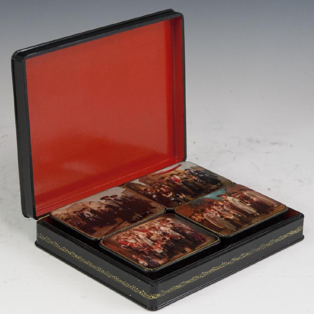 Russian Lacquered Papier Mache Judaic Boxes - 8