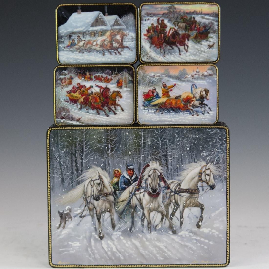 Russian Lacquered Papier Mache Troika Boxes