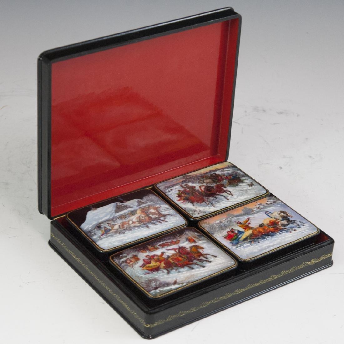 Russian Lacquered Papier Mache Troika Boxes - 3