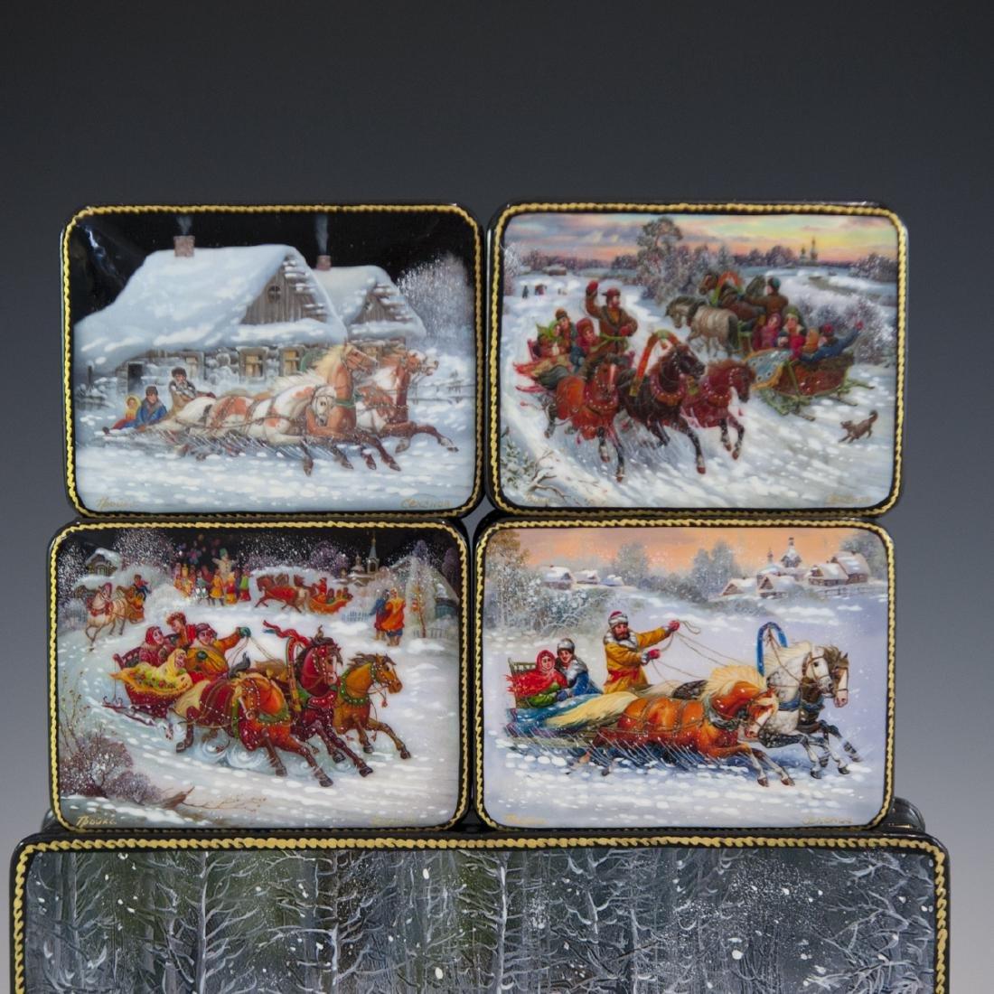 Russian Lacquered Papier Mache Troika Boxes - 4