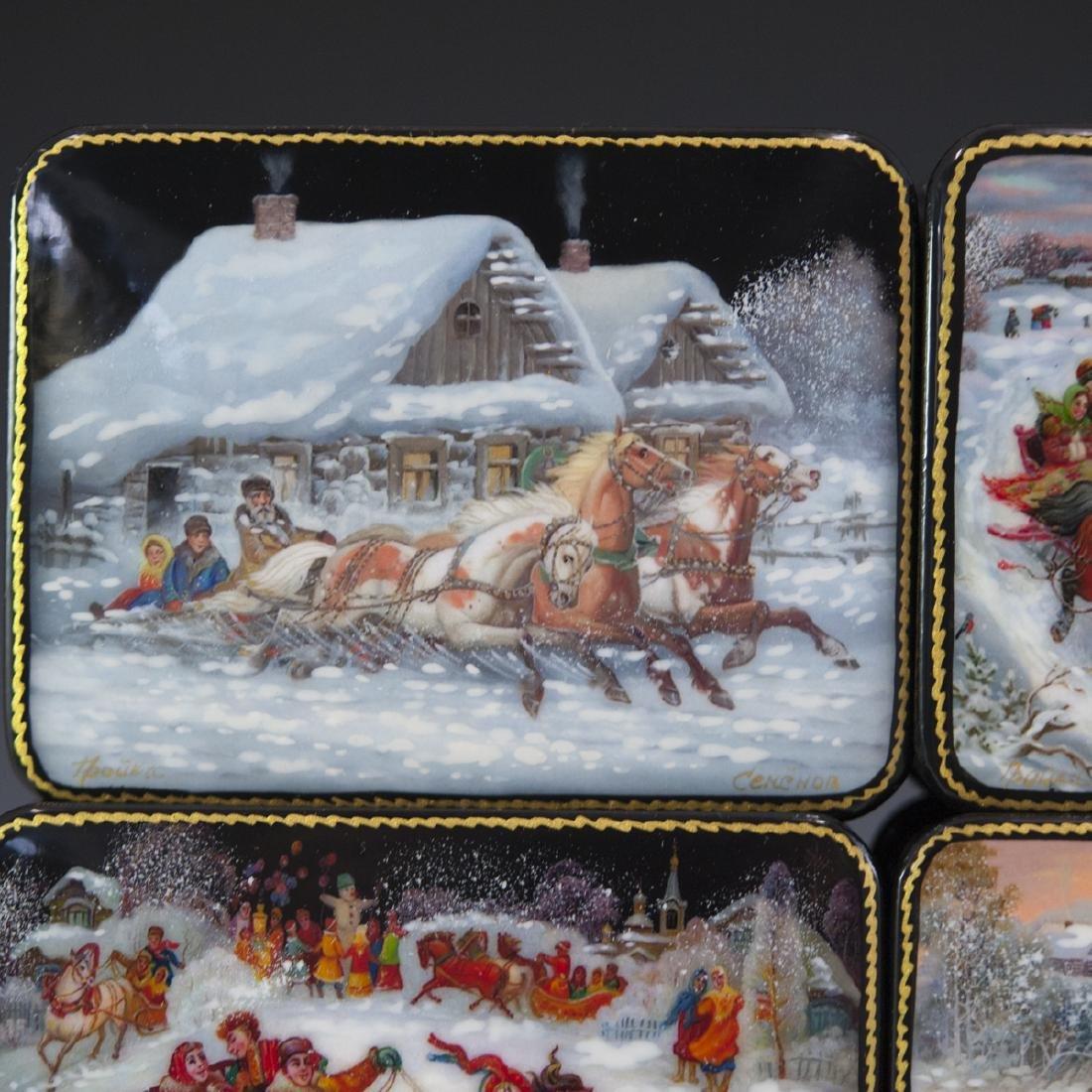 Russian Lacquered Papier Mache Troika Boxes - 6