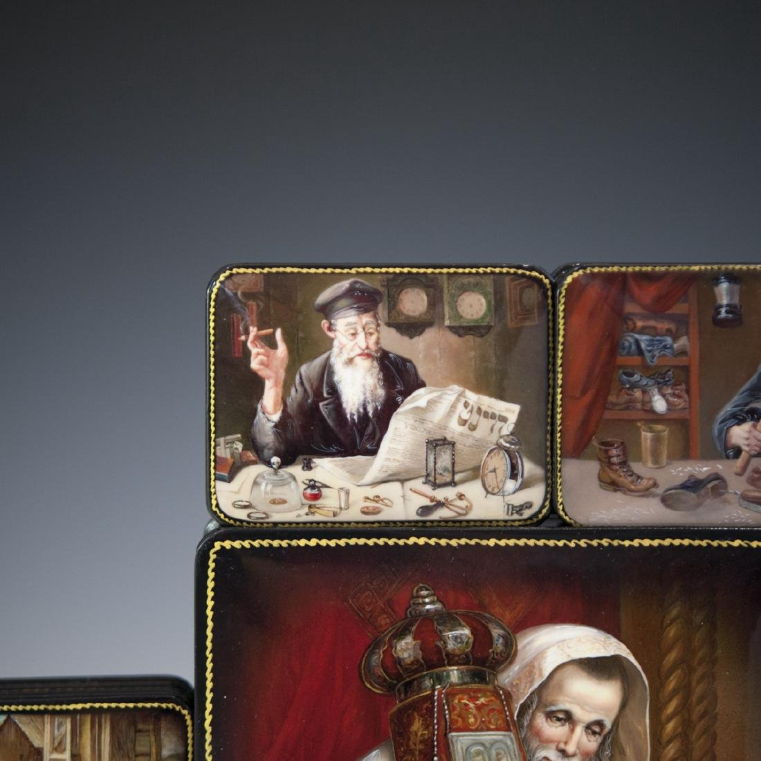 Russian Lacquered Papier Mache Judaic Boxes - 6