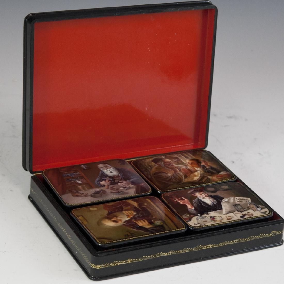 Russian Lacquered Papier Mache Judaic Boxes - 7