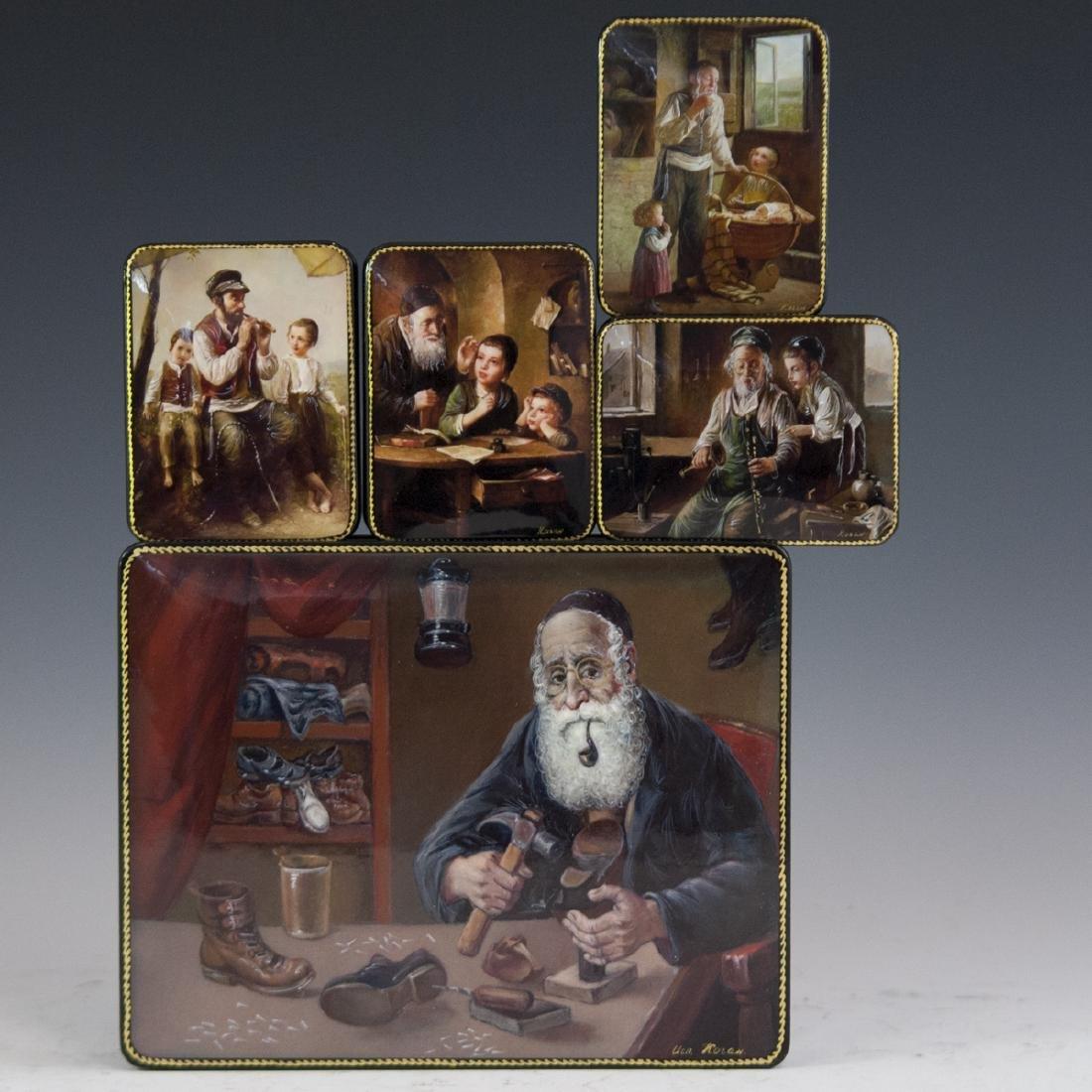 Russian Lacquered Papier Mache Judaic Boxes