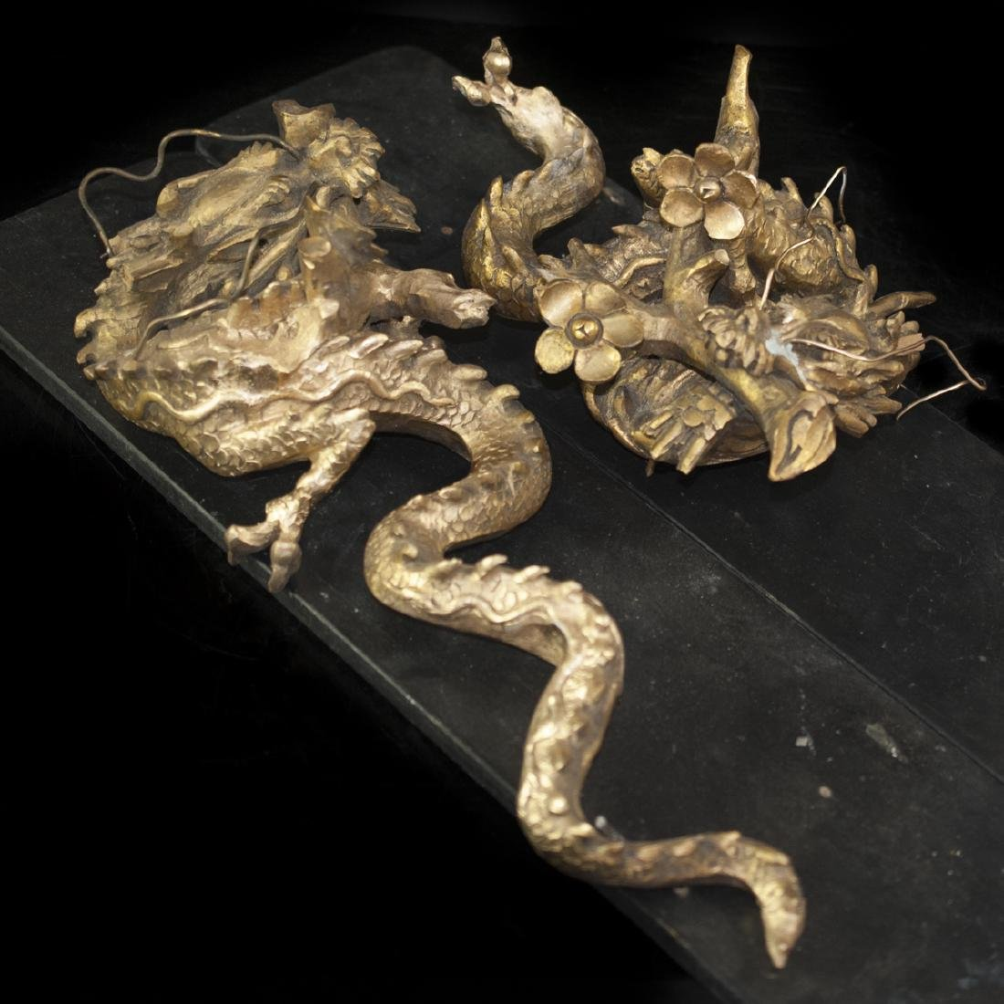Pair of Gilded Wood Dragons