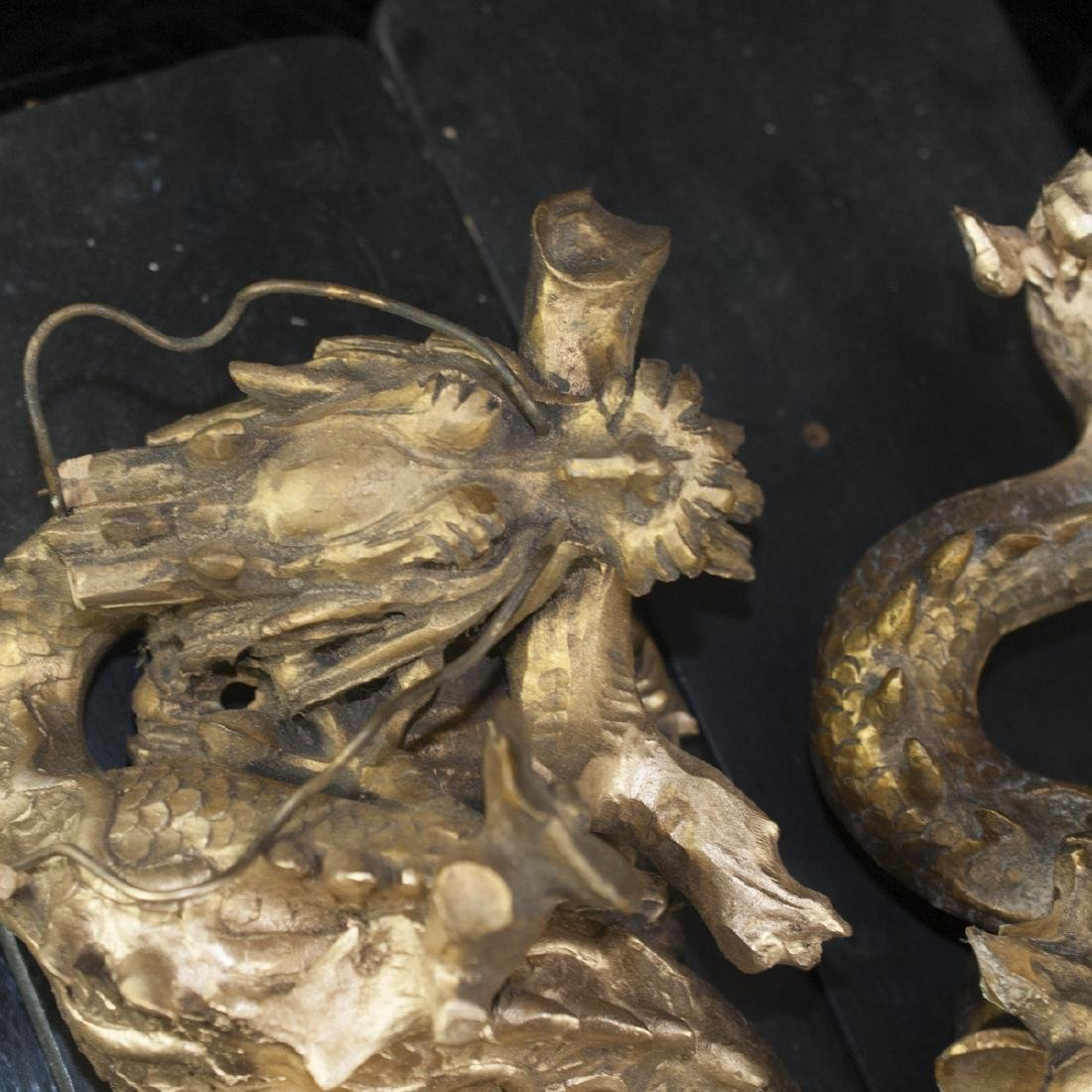 Pair of Gilded Wood Dragons - 2