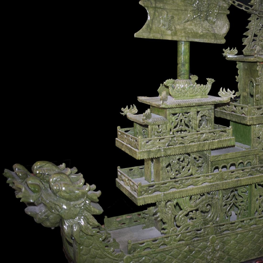 Palace Size Faux Spinach Jade Boat - 2