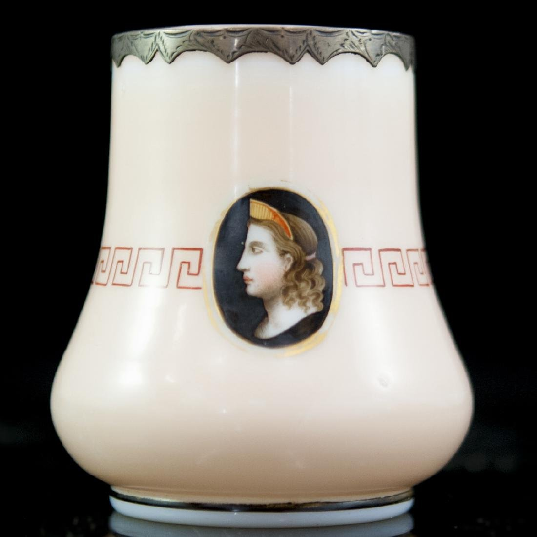 Antique French Silver Overlay Opaline Glass Vase