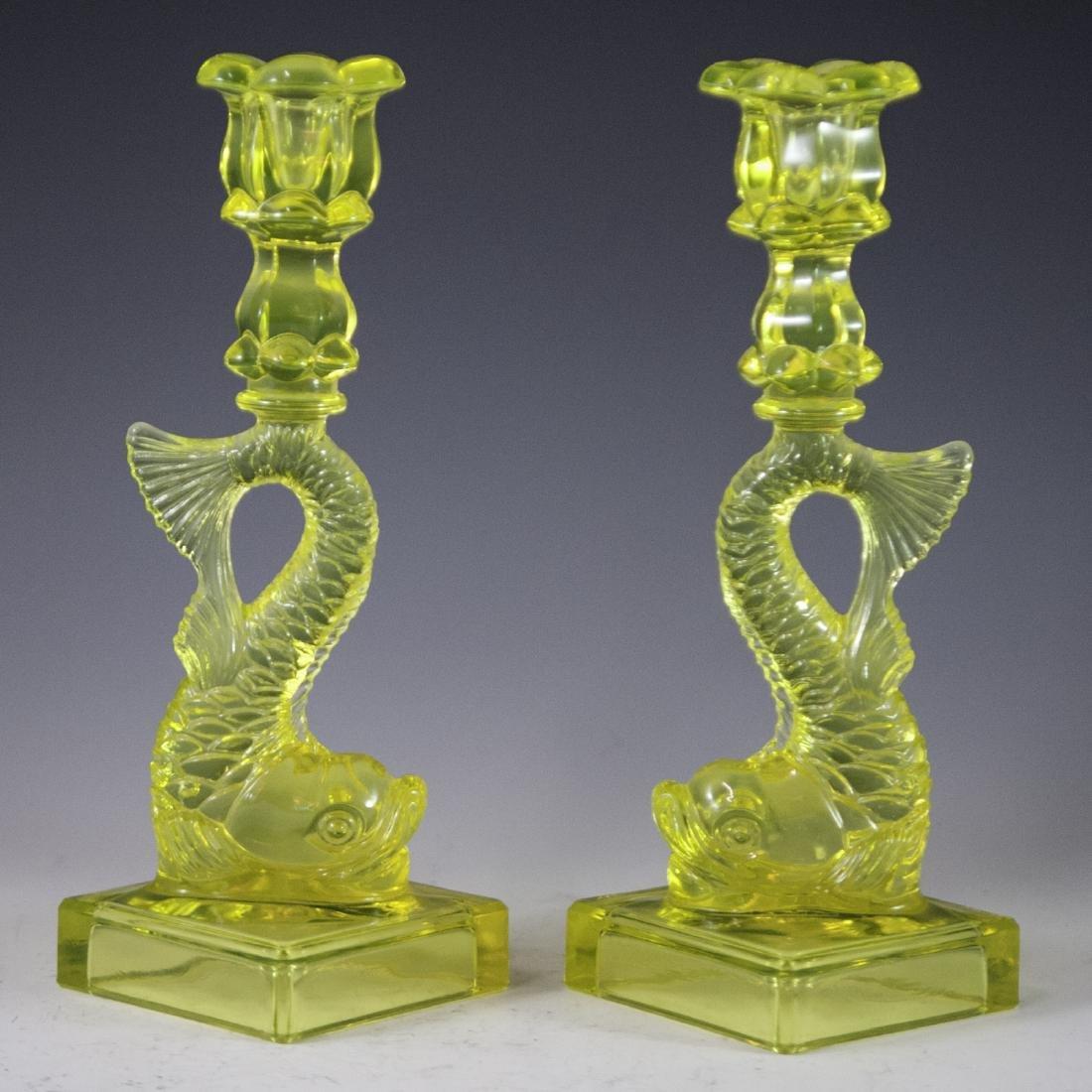 Metropolitan Museum of Art Canary Glass Candlesticks