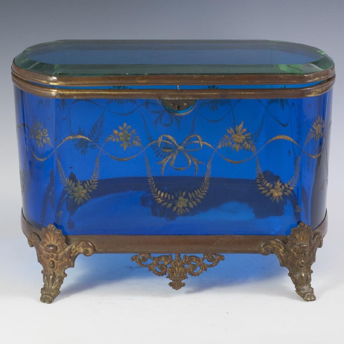 Victorian Glass & Brass Box