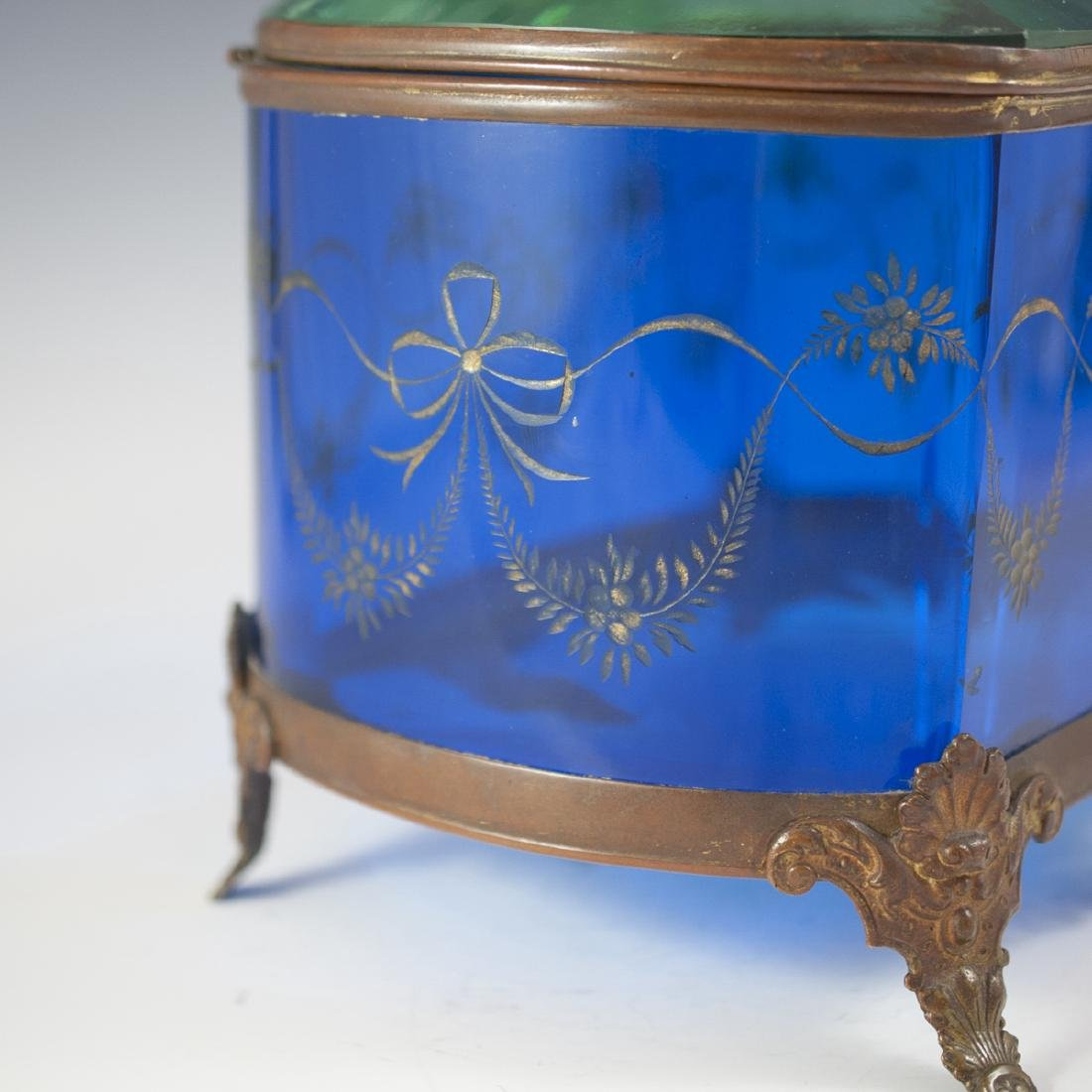 Victorian Glass & Brass Box - 4