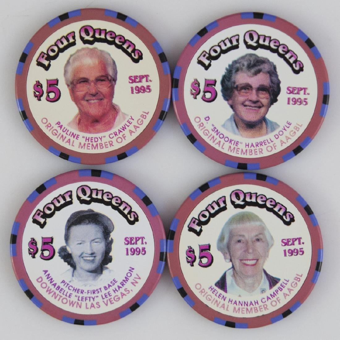 """1995 """"Four Queens"""" AAGBL Chips"""