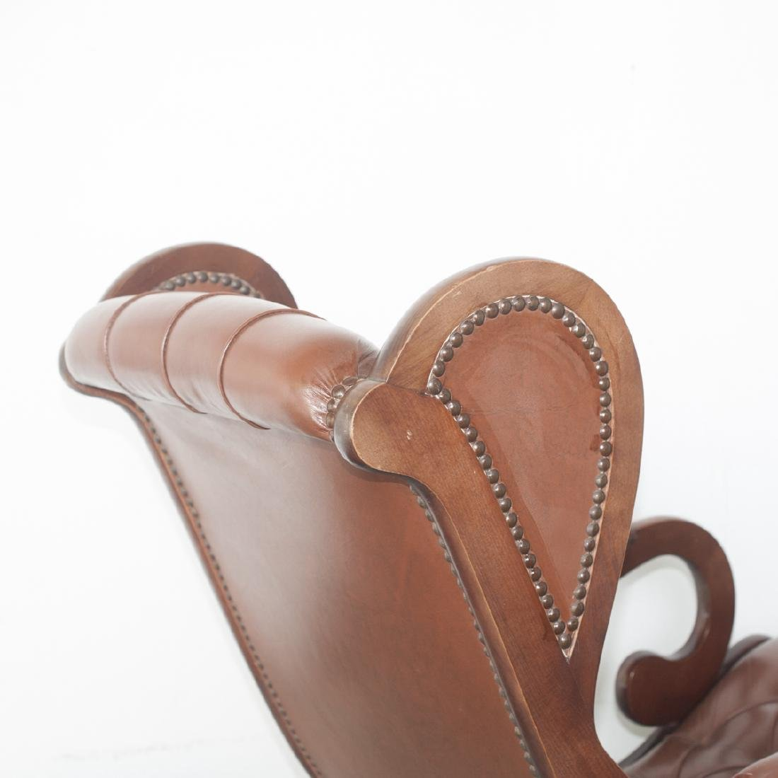 Leather & Wood Rocking Chair - 3