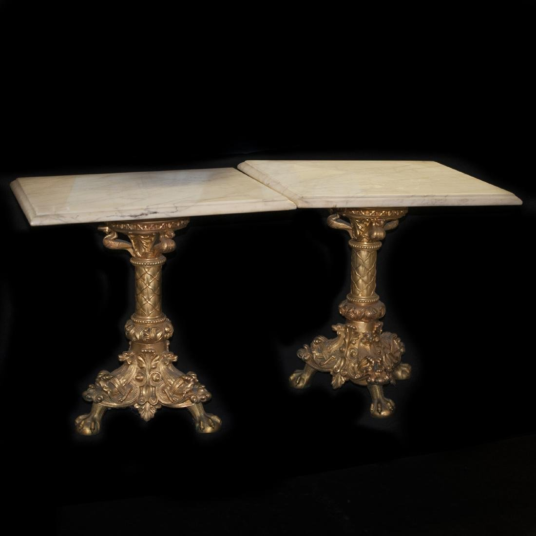 Pair of Dore Bronze & Marble End Tables