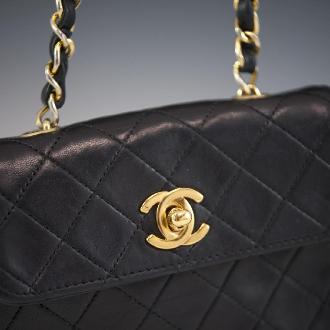 Chanel Mini Black Leather Flap Bag - 4