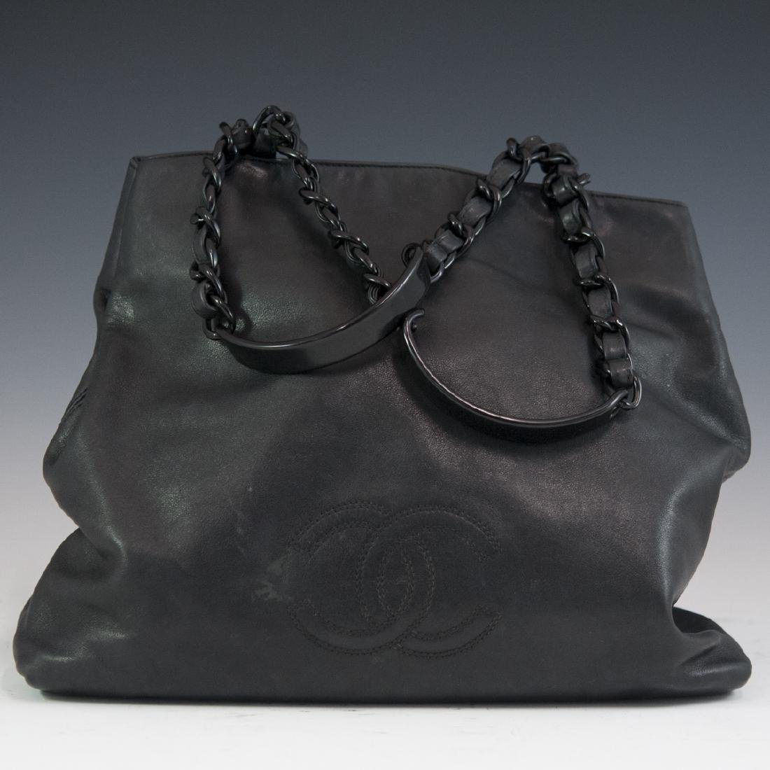 Chanel Black Leather Tote Bag