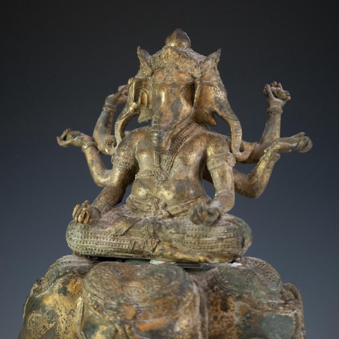 Indian Gilt Bronze Ganesha Sculpture - 2
