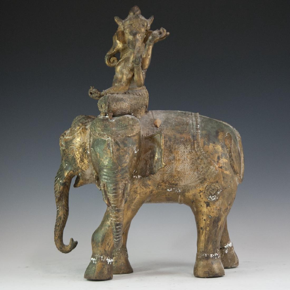Indian Gilt Bronze Ganesha Sculpture - 3