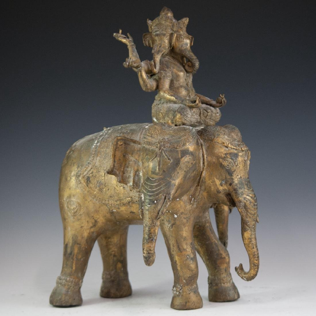 Indian Gilt Bronze Ganesha Sculpture - 6