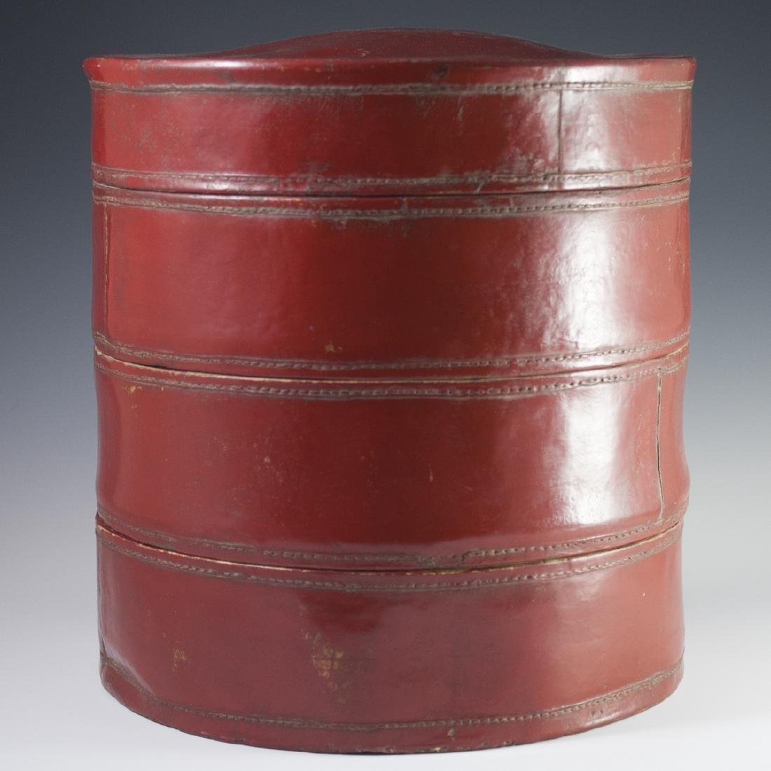 Antique Chinese Papier Mache Hat Box