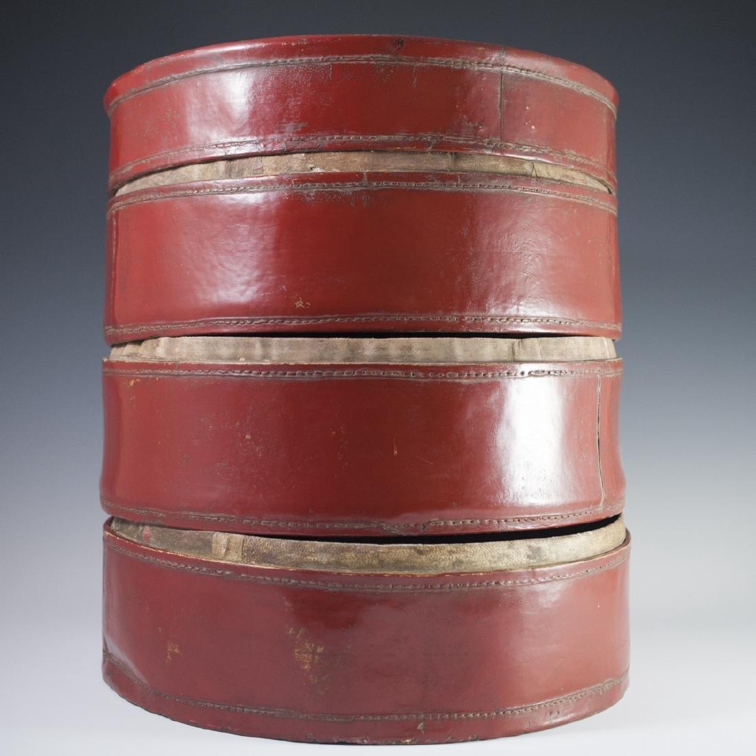 Antique Chinese Papier Mache Hat Box - 4