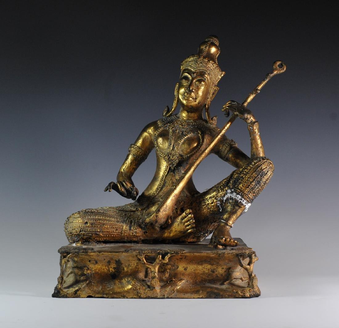 Gilded Bronze Statue Of Thai Prince