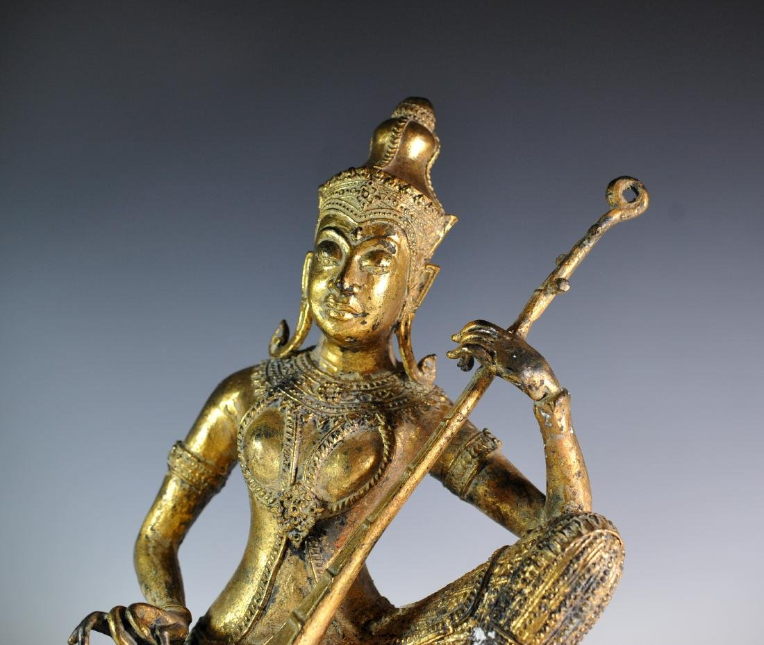Gilded Bronze Statue Of Thai Prince - 2