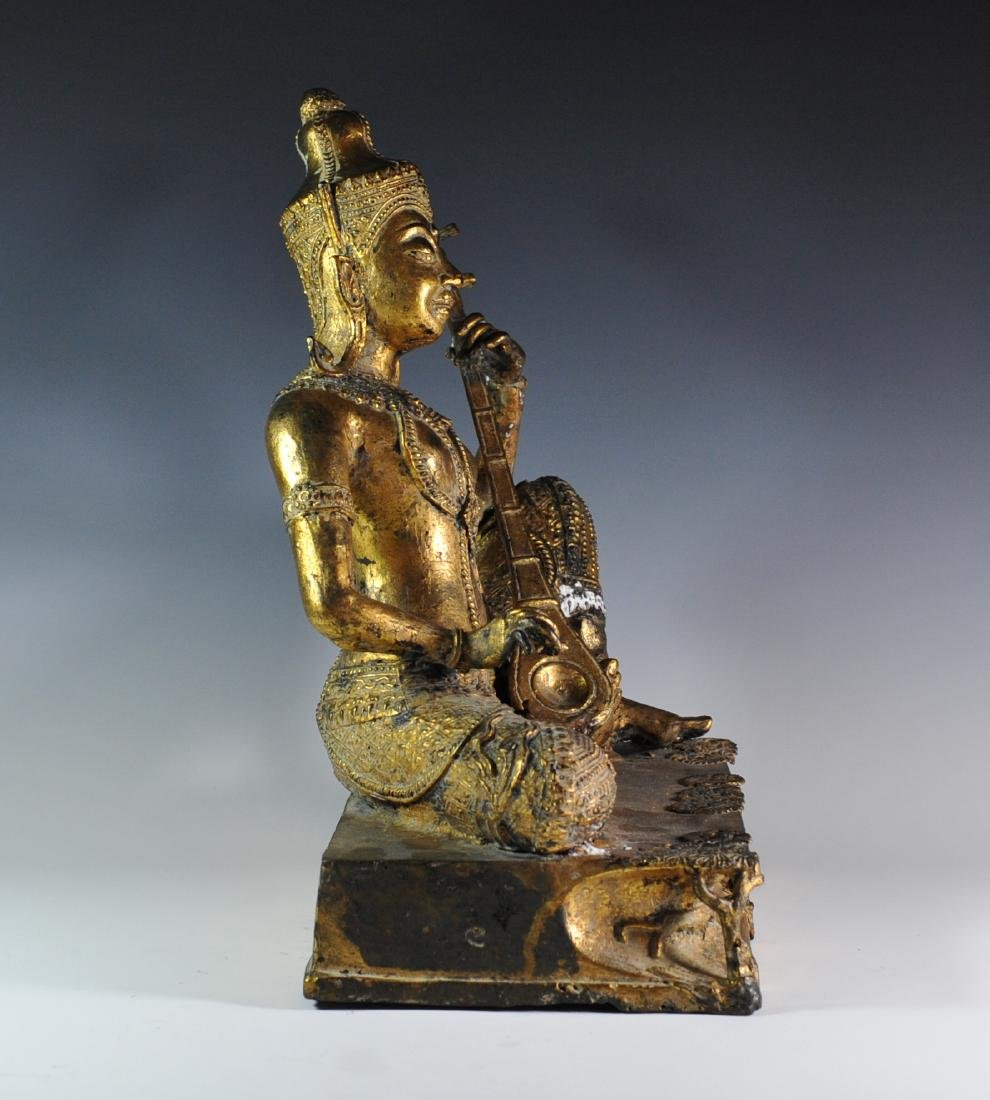 Gilded Bronze Statue Of Thai Prince - 3