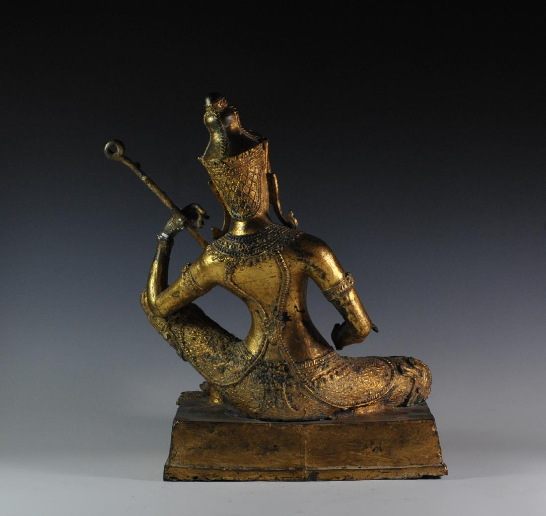 Gilded Bronze Statue Of Thai Prince - 4