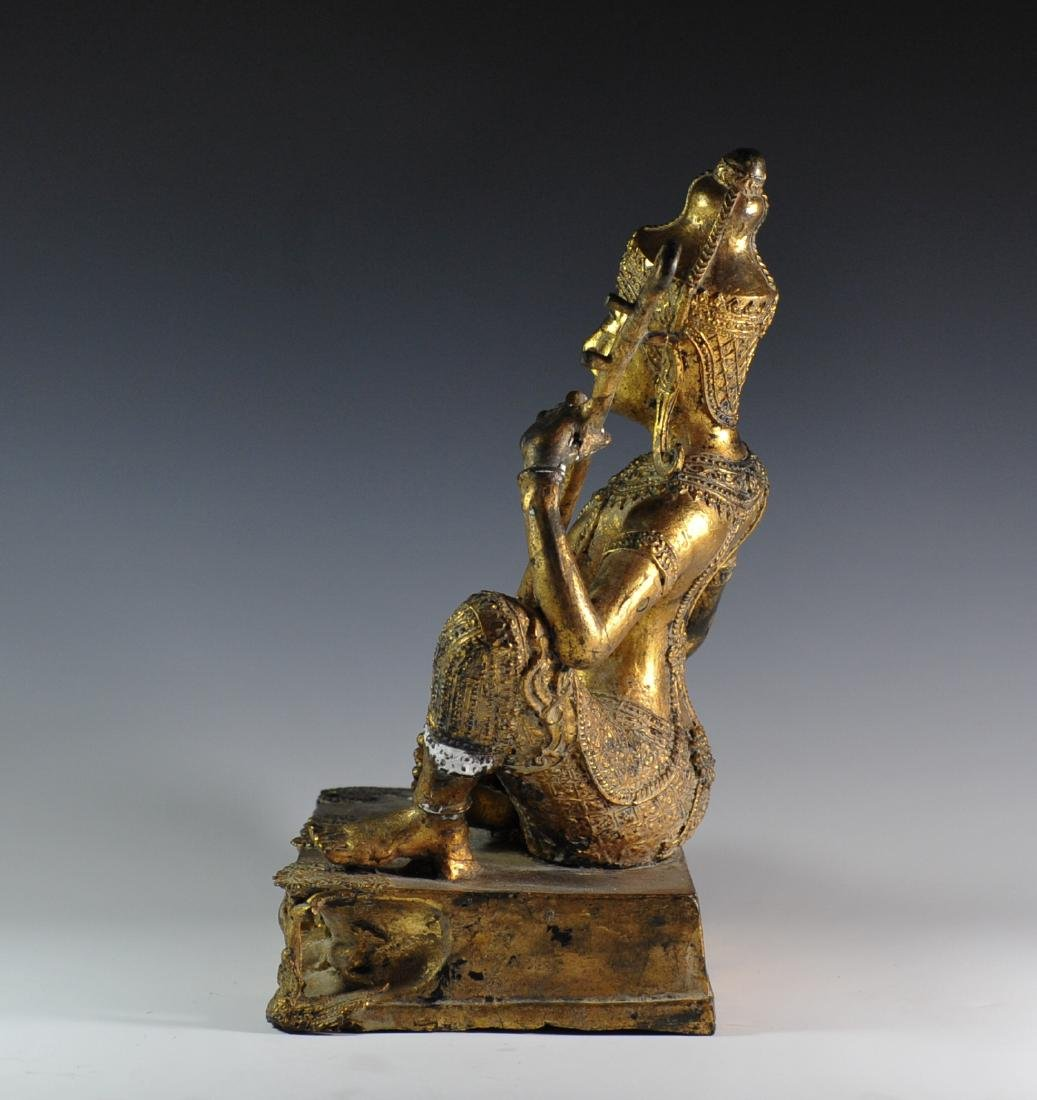 Gilded Bronze Statue Of Thai Prince - 5