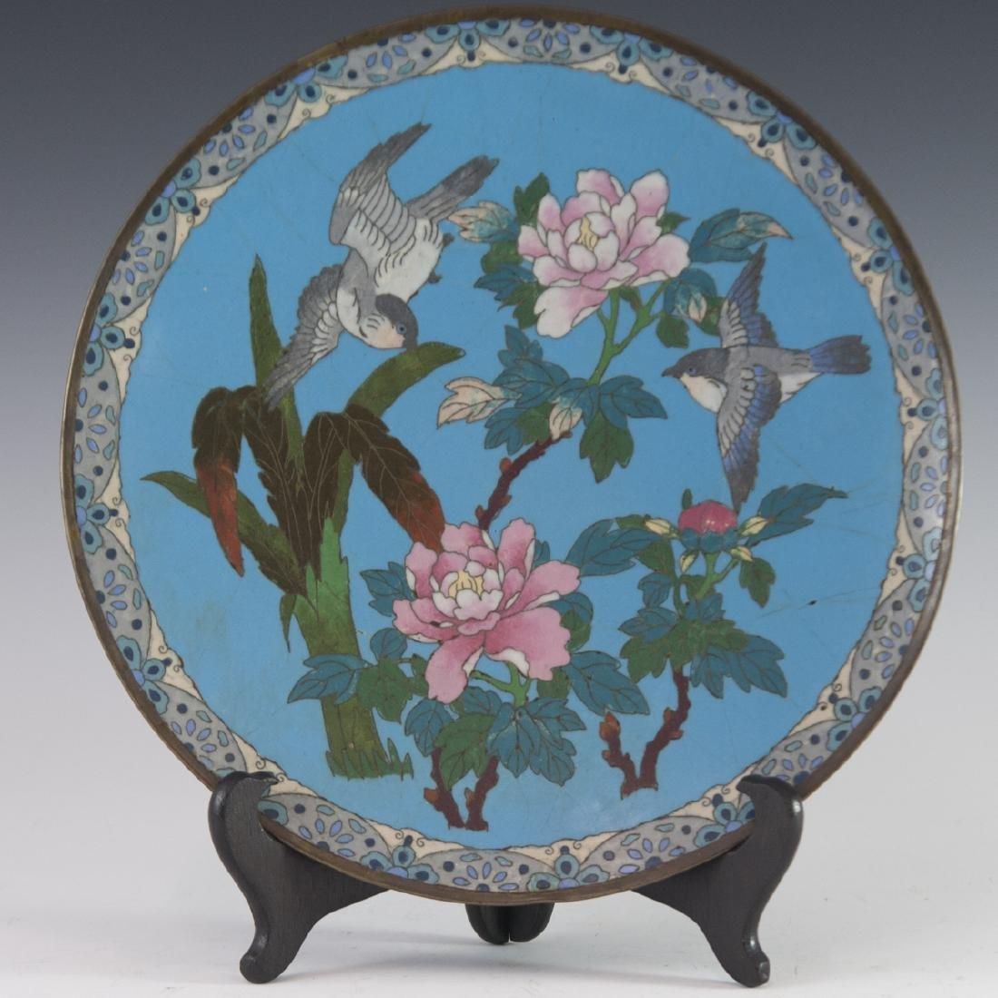 Antique Japanese Cloisonne Enameled Plate