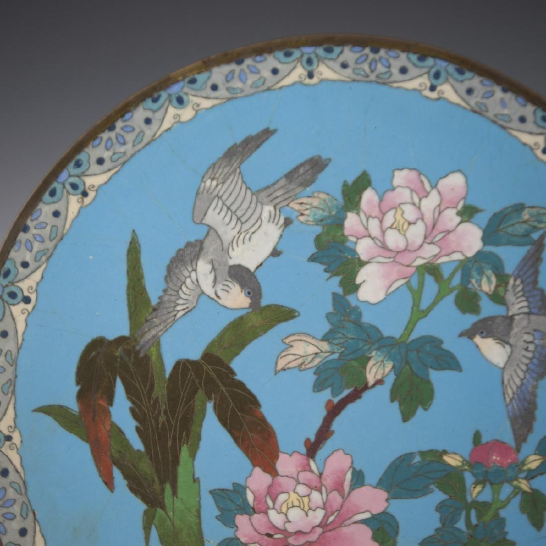 Antique Japanese Cloisonne Enameled Plate - 2