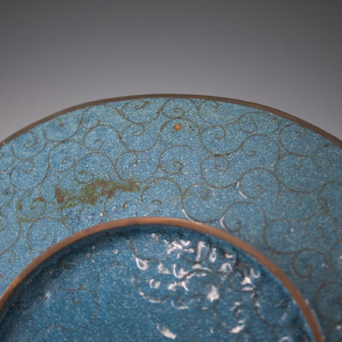 Antique Japanese Cloisonne Enameled Plate - 4