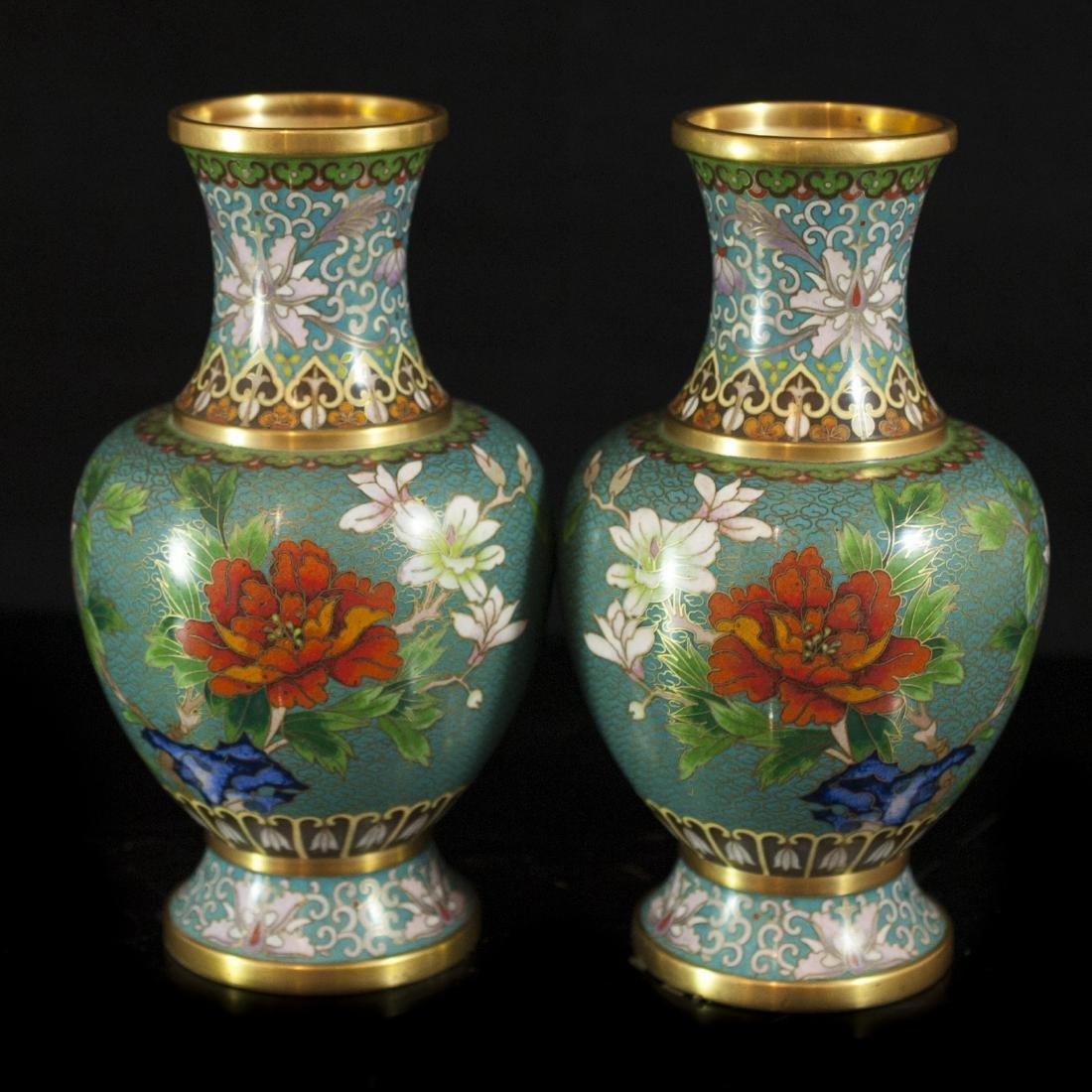 Chinese Enameled Cloisonne Vases