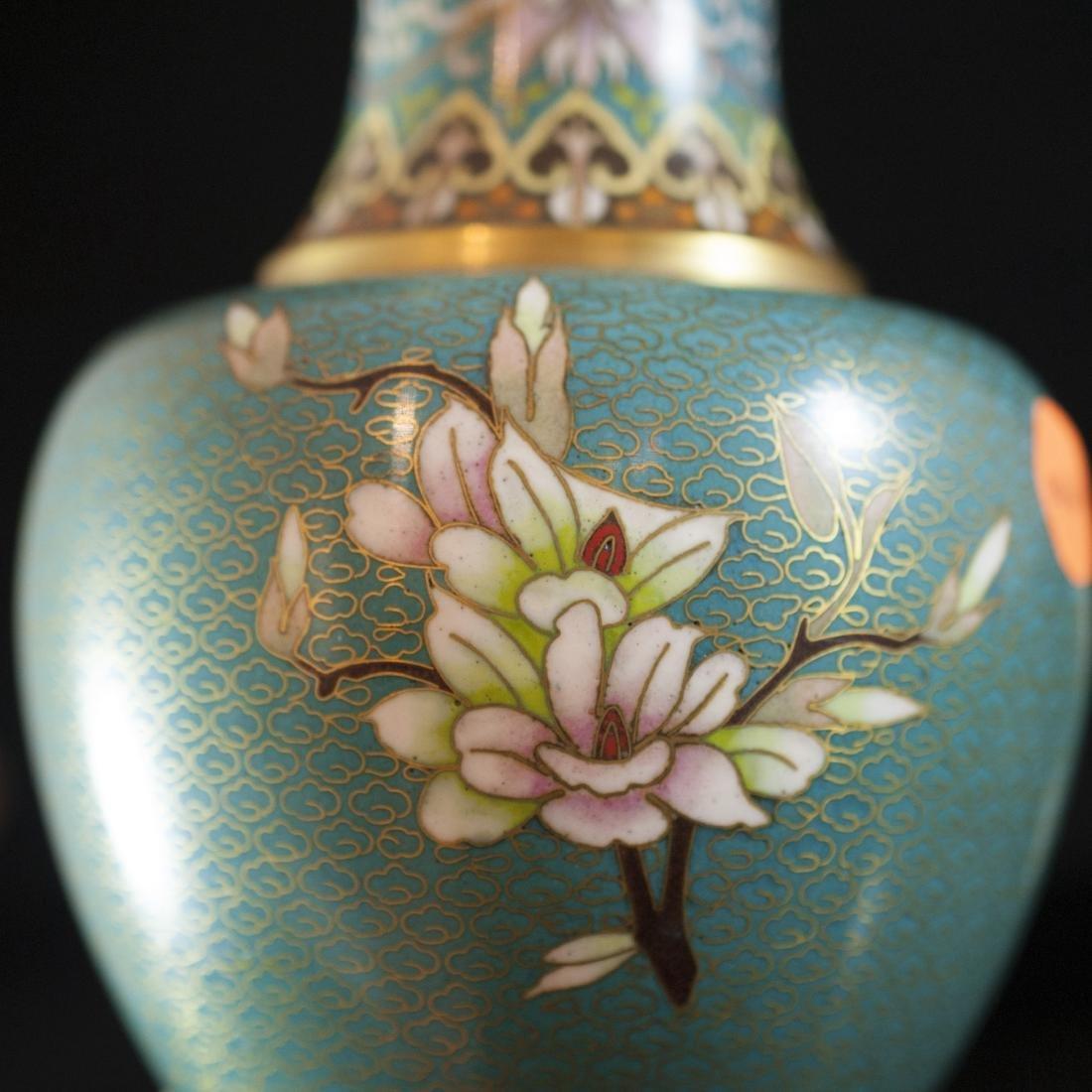 Chinese Enameled Cloisonne Vases - 3