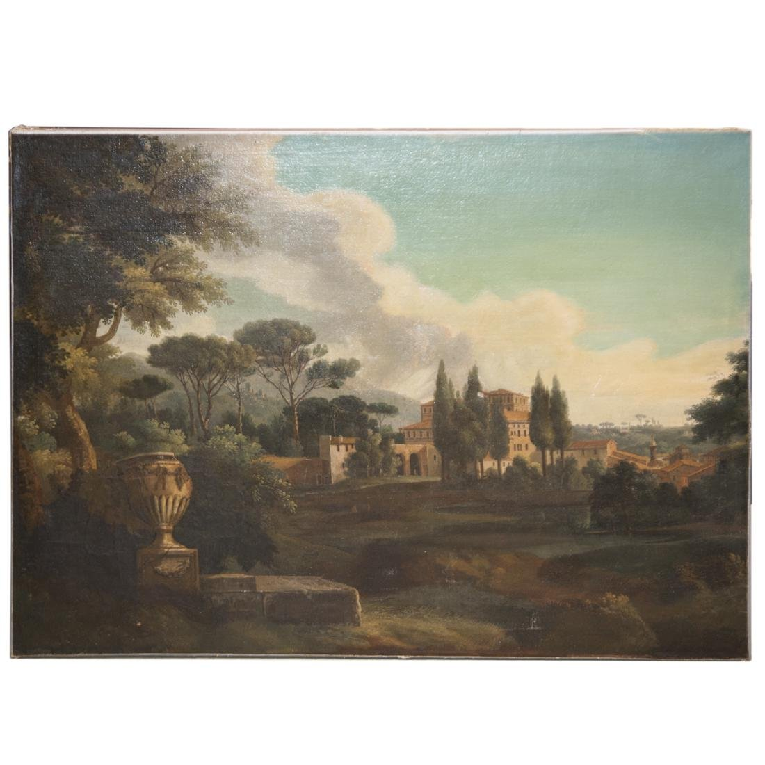Antique Continental Oil on Canvas