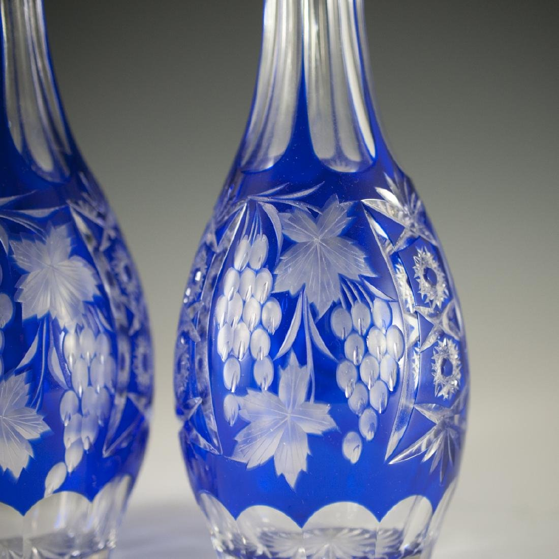 Bohemian Cobalt Crystal Decanters - 2