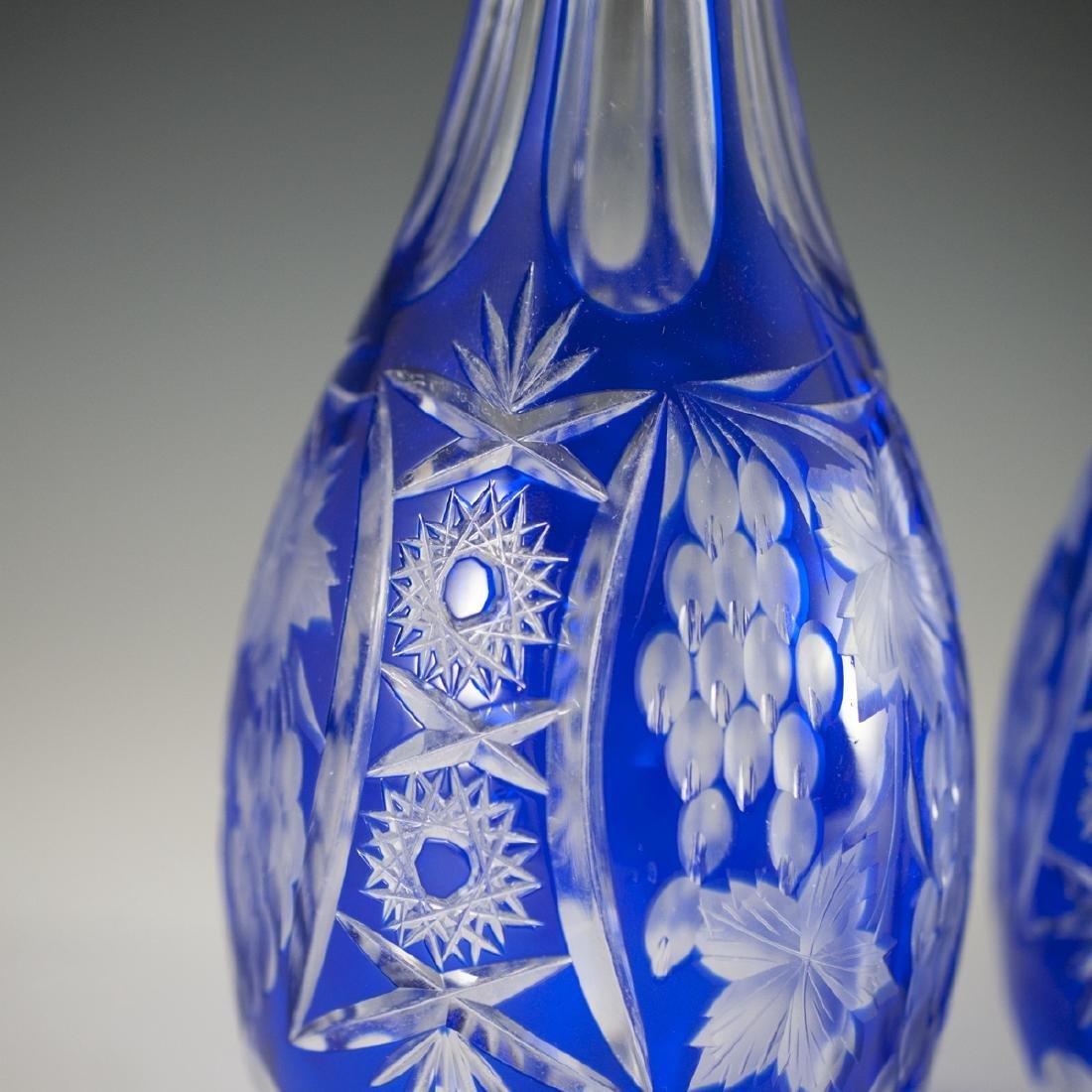 Bohemian Cobalt Crystal Decanters - 4