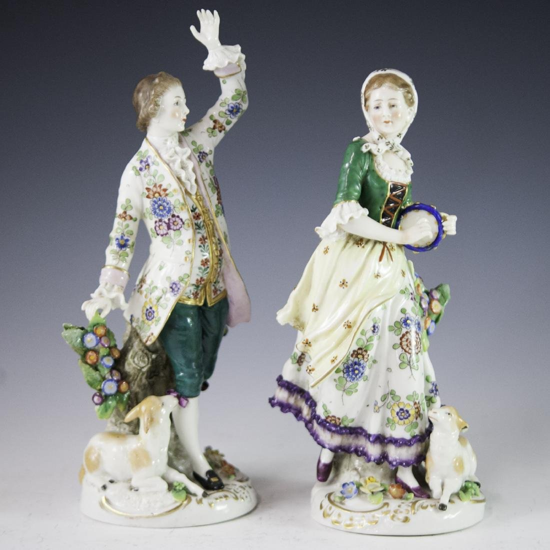 Chelsea Style Porcelain Figurines - 5
