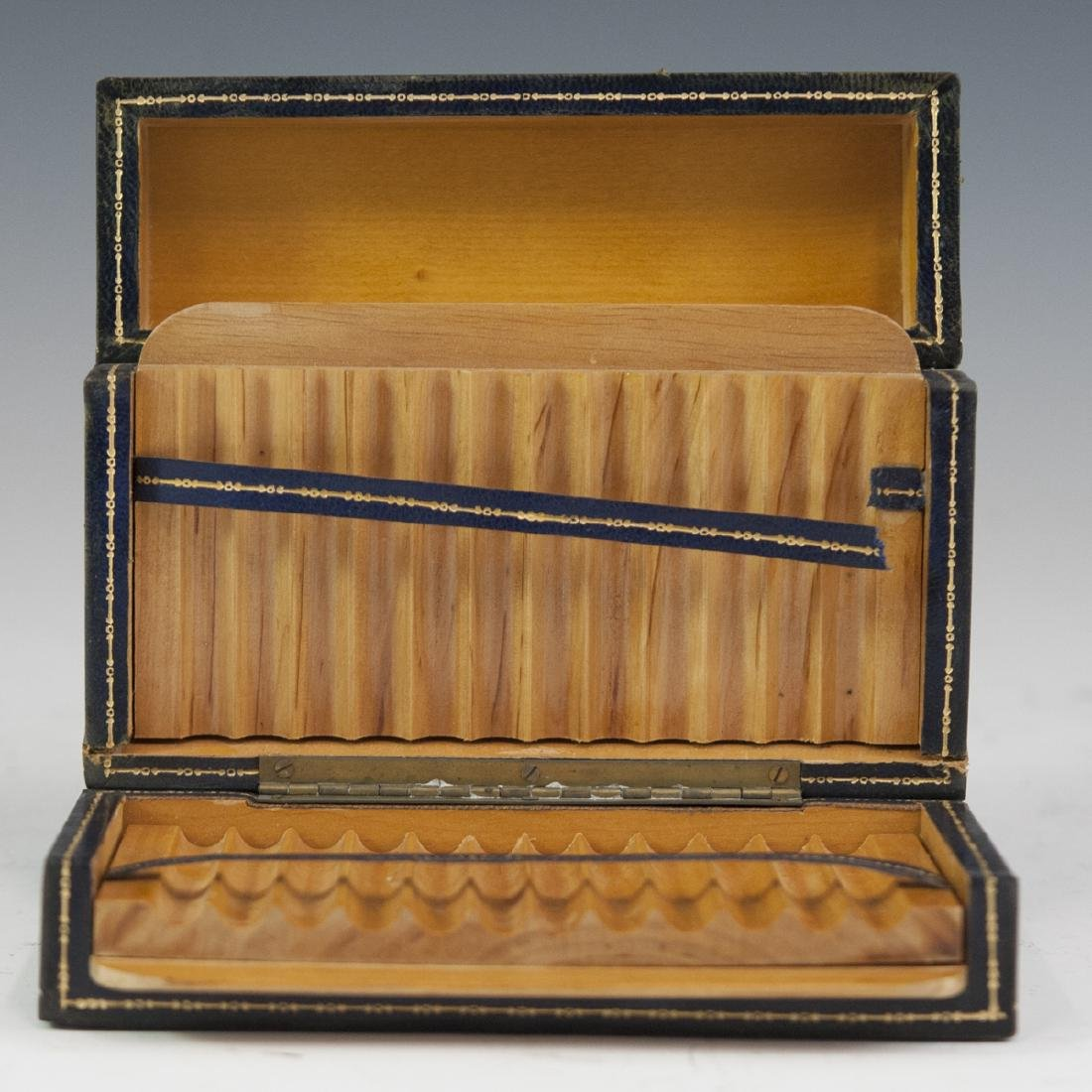 Leather Lined Wooden Cigarette Box - 2