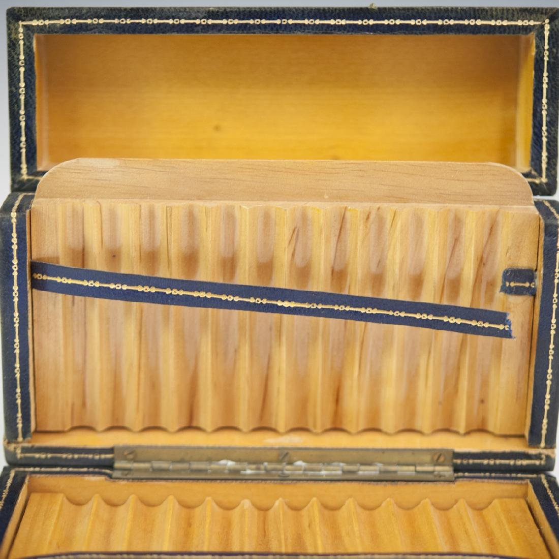 Leather Lined Wooden Cigarette Box - 3
